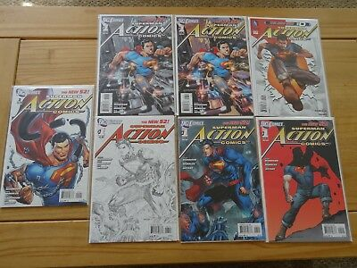 ACTION COMICS #1 NEW 52 LOT OF RARE VARIANTS NM Bag and Board