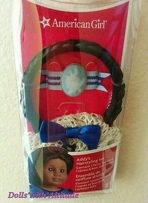 NEW American Girl Addy Addy's Cecile Blue hair Hairstyling Set Snood Braid Cameo