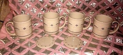 Longaberger Pottery Woven Traditions Blue Coffee Mugs Cups With 2 Lids /Coasters