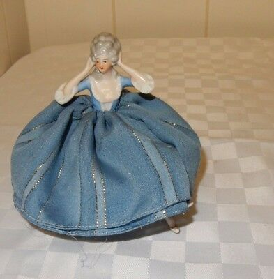Vintage Madame Pompadour Pin Cushion half doll with legs in blue dress