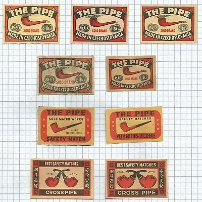 Czecoslovakia: Matchbox Labels - Pipe/cross Pipe