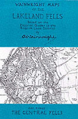 Wainwright Maps of the Lakeland Fells: The Central Fells Map 3, Very Good Condit