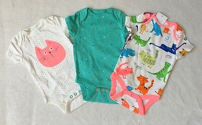 ***BNWT Next baby girl Cats bodysuits 3 pack set 3-6 months***