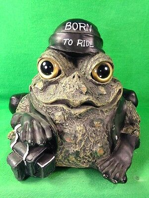 """Toad Hollow Cycle Works """"Born to Ride"""" Frog Figurine Bug Eyes Leather Jacket"""