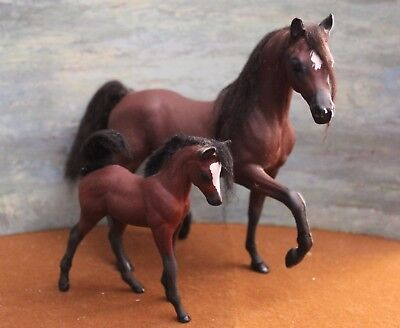 Vintage Custom Breyer Horse Classic Arabian Mare and Foal  by Samantha Kroese