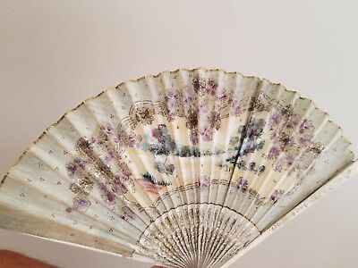 Antique hand-painted one of a kind hand fan