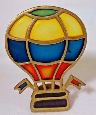 Enesco Brass and Stained Glass Hot Air Balloon Candle Holder