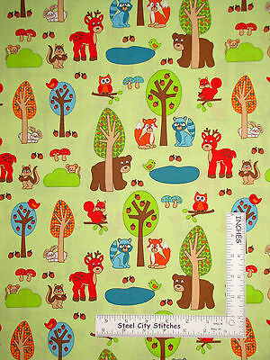 Woodland Animal Deer Bear Cotton Fabric RJR Woodland Park Green - 30 Inches