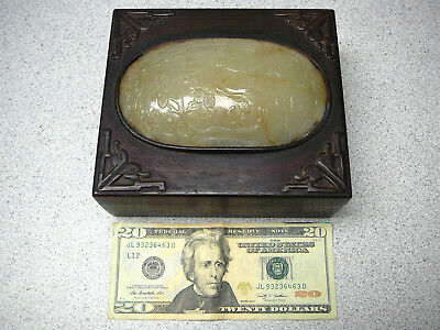 Antique wood box with finely carved large oval white jade inset cover 19thC