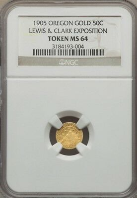 1905 Oregon Gold - Lewis & Clark Expo 1/2 Dollar / Ngc Ms-64