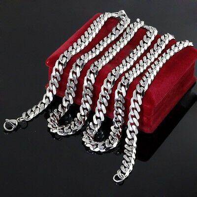 5mm Mens Chain Silver Tone Stainless Steel Curb Cuban Link Necklace 18-36''