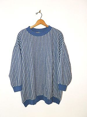 Vtg 80s 90s Blue & Gray Stripe Oversize Boho Retro Hip Hop Thin Sweatshirt OS