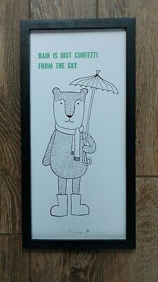Bloomingville bear with umbrella Framed Art