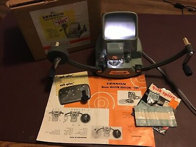 Vernon 8mm Movie Editor model 101 with splicer and tapes. Working lamp.