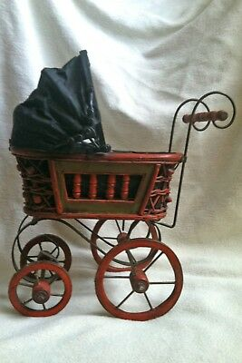 Vtg Baby Doll Stroller Carriage Spooky Halloween Wicker Wood Black Canvas Metal
