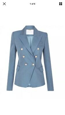 Camilla and Marc Dimmer Dove Blue Double Breasted Women's Blazer Jacket SZ 6