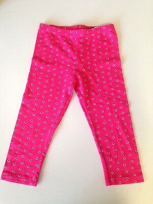 Brand New Deep Pink 3/4 Leggings Pants With Black Hearts Target Girls Size 6