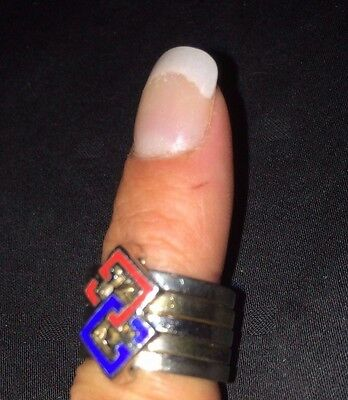 RARE Vintage GUCCI Couture GG Red and Blue Logo Ring Silver 925 Enamel Jewelry