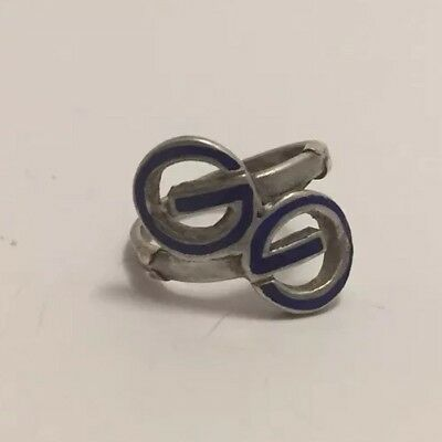 RARE Vintage GUCCI Couture GG Blue Logo Ring Silver 925 Enamel Jewelry