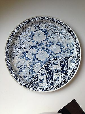Vintage Metal Serving Tole Tray Ming Pattern Blue/White Spic & Span Promo Item
