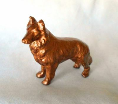 "Vintage Small Metal Copper Finish Collie Sheltie Dog Figurine 3"" L"