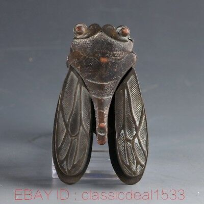 Collectible Decorated Old Bronze Handwork Carved Cicada Ink cartridges PA0880