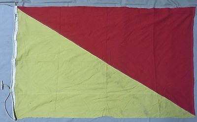 Used ORIGINAL WW2 Vintage US MILITARY SIGNAL FLAG Red & Yellow