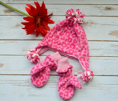 NWT THE CHILDREN'S PLACE Girls Animal Print Hat & Mittens M 12-24 Mos 18M Gift