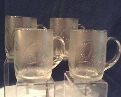 "Coca-Cola Mugs Glass 8 oz  4"" Set of 4 1997 Original USA $15.99"
