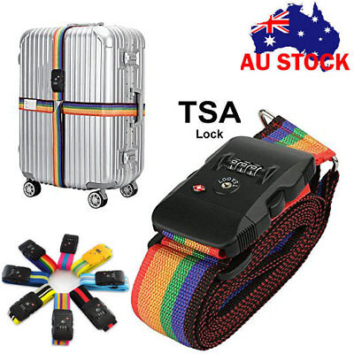 Adjustable Travel 3-Dial TSA Combination Luggage Lock Suitcase Secure Strap Belt