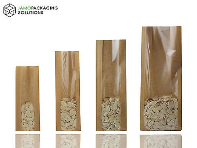 Kraft Brown Paper Bags With Window Heat Seal For Catering,cakes, Fruits,pastry