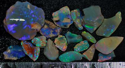 100 Carats Of Solid Quality Lightning Ridge Rough Rubbed Black Opal Parcel 101