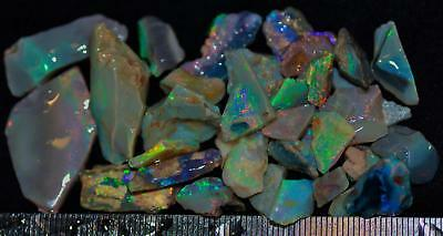 100 Carats Of Solid Quality Lightning Ridge Rough Rubbed Black Opal Parcel 103