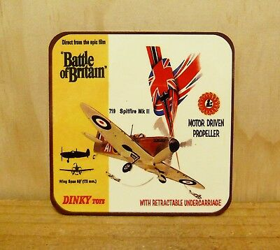 Drink Coaster Set Of 4 - Dinky Toys Battle Of Britain Spitfire Mk Ii