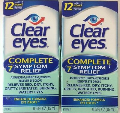 (New) Clear Eyes Complete 7 Symptom Relief Eye Drops 0.50 oz ( Pack Of 2)