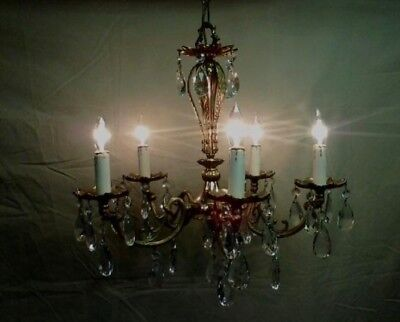 Gorgeous Vintage Brass and Crystal Chandelier
