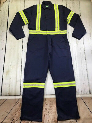Reflective Industrial Work Coverall 100% Cotton Navy CU Brand by REED-USA New