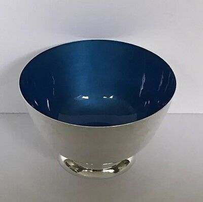 """Vintage Towle Sterling Silver Bowl # 46 Blue Enamel Footed Bowl Dish 5"""""""