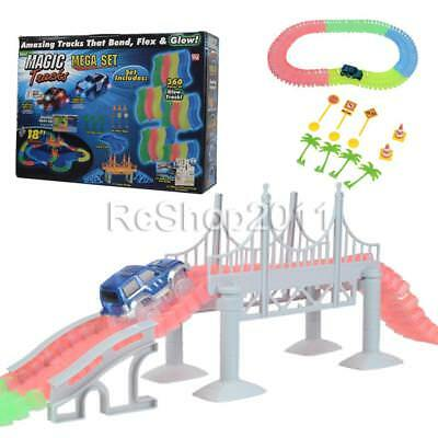 360pcs Magic Tracks 18ft Mega Set With LED Race Cars Glow in Dark DIY Racing Toy