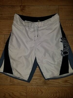 Mens White Blue And Black Oneill Board Shorts Swimming Trunks Size 34