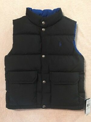 NWT Polo Ralph Lauren Reversible Puffer Vest Boys Size 5 Black And Blue ($115)