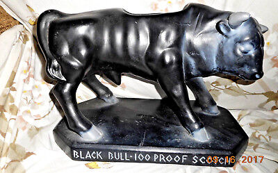 Vintage Large Black Bull Scotch Back Bar Display Advertising Sign Chalkware