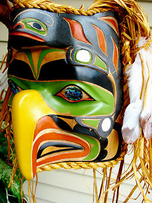 Northwest Coast Native Art Eagle whale mask abalone mother of pearl sculpture