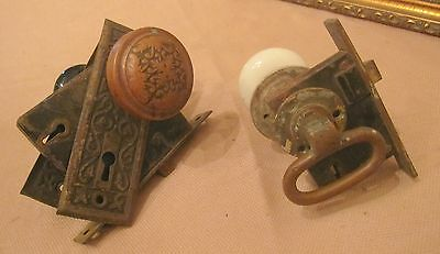 set 2 antique ornate brass iron glass door handle knob hardware back plate old