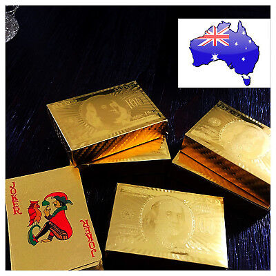 24K 999.9% Gold Foil Plated Poker PLAYING CARDS Deck Christmas GIFT New Blackjac