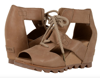 Sorel Joanie Lace Wedge Sandal 6 8 8.5 10 11 Leather Summer Boots Sahara/Fawn