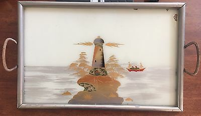 Vintage Antique Serving Tray. Metal & Glass, Reverse Painting. Germany.