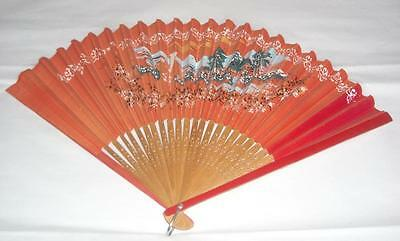 Vintage Hand-Painted Paper Fan w/ Bamboo Blades
