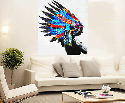 Huge American Native Indian Feather blue red  Painting Street Art Canvas BY PEPE