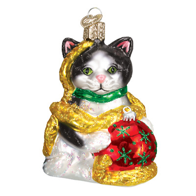 """""""Holiday Kitten"""" (12223) Old World Christmas Glass Ornament w/ OWC Box"""